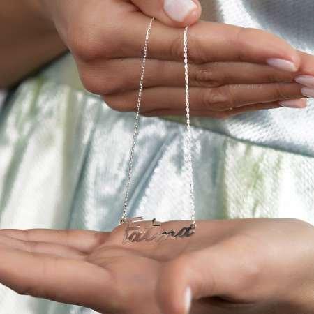 Yatay Tasarım Kişiye Özel İsim Yazılı 925 Ayar Gümüş Bayan Kolye - Thumbnail
