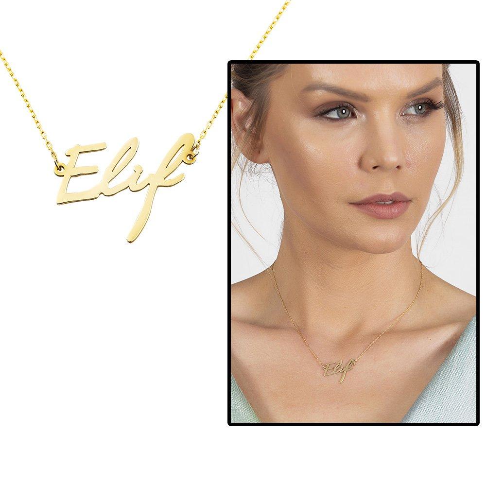 Yatay Tasarım Kişiye Özel İsim Yazılı Gold Renk 925 Ayar Gümüş Bayan Kolye