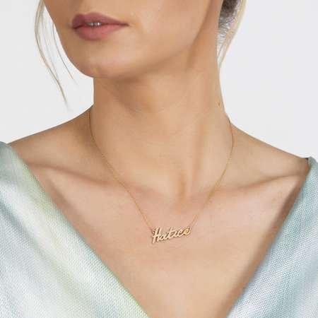 Yatay Tasarım Kişiye Özel İsim Yazılı Gold Renk 925 Ayar Gümüş Bayan Kolye - Thumbnail