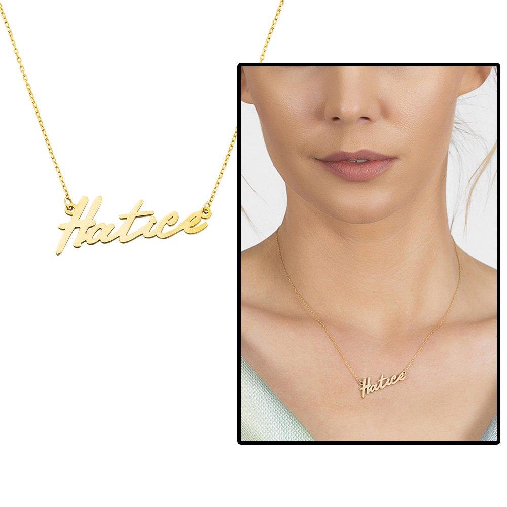 Yatay Tasarım Kişiye Özel İsim Yazılı Rose Renk 925 Ayar Gümüş Bayan Kolye