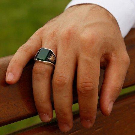 Yeşil Akik Taşlı Gümüş Yüzük - Thumbnail