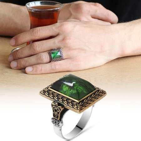 Yeşil Ateş Kehribar Taşlı Dörtgen Tasarım 925 Ayar Gümüş Erkek Yüzük - Thumbnail