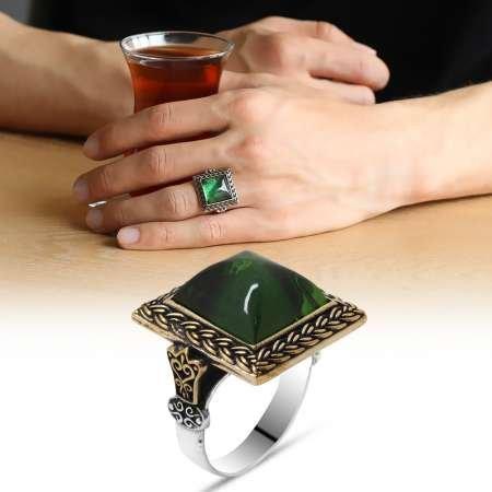 Yeşil Ateş Kehribar Taşlı Kare Tasarım 925 Ayar Gümüş Erkek Yüzük - Thumbnail