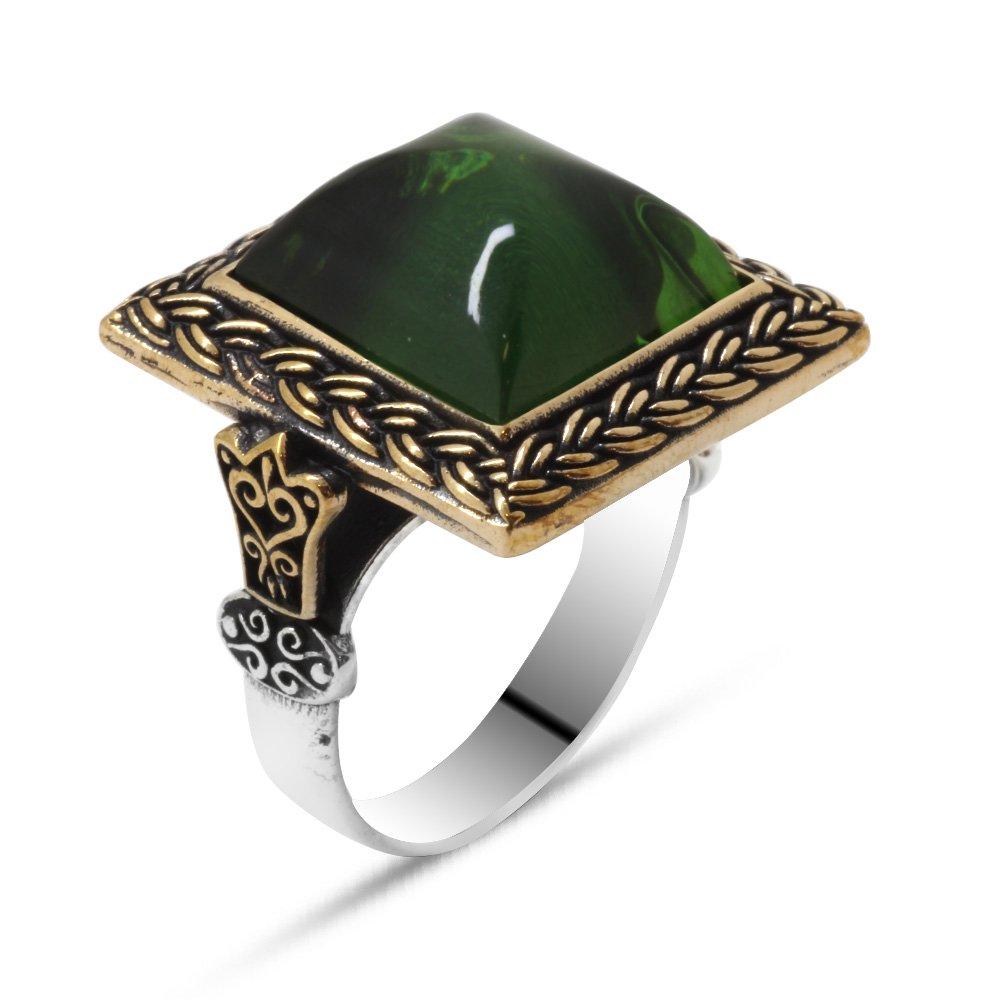 Yeşil Ateş Kehribar Taşlı Kare Tasarım 925 Ayar Gümüş Erkek Yüzük
