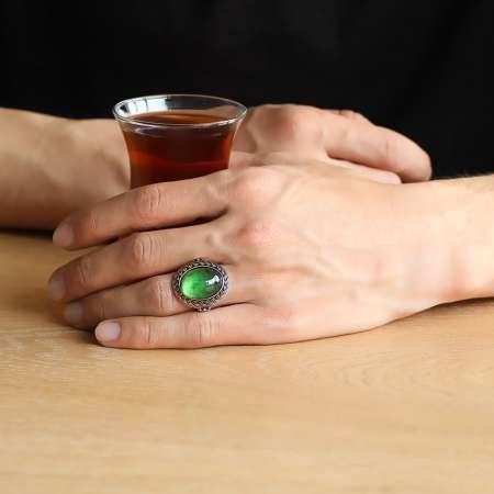 Yeşil Ateş Kehribar Taşlı Oval Tasarım 925 Ayar Gümüş Erkek Yüzük - Thumbnail