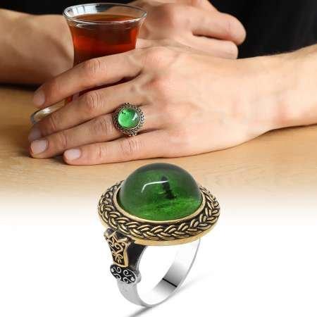 Yeşil Ateş Kehribar Taşlı Yuvarlak Tasarım 925 Ayar Gümüş Erkek Yüzük - Thumbnail