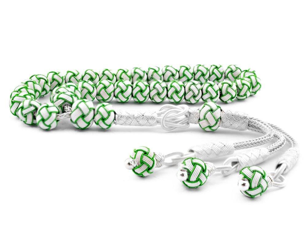 Yeşil Beyaz Kazaz El Örmesi Bilek Boy Gümüş Tesbih