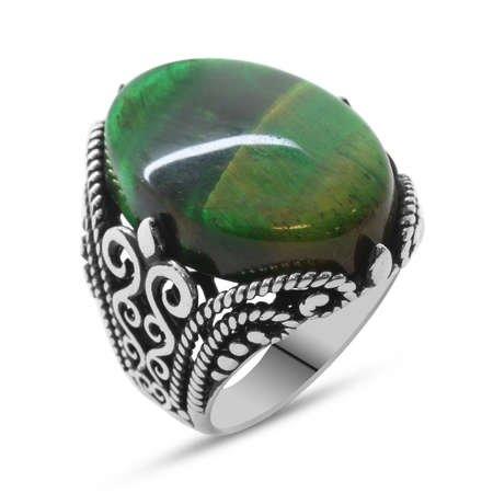 Yeşil Kaplangözü Taşlı Ferforje Tasarım 925 Ayar Gümüş Erkek Yüzük - Thumbnail