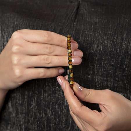 Yeşil Makrome Örgülü Küp Kesim Multicolor Doğal Damla Kehribar Unisex Bileklik - Thumbnail