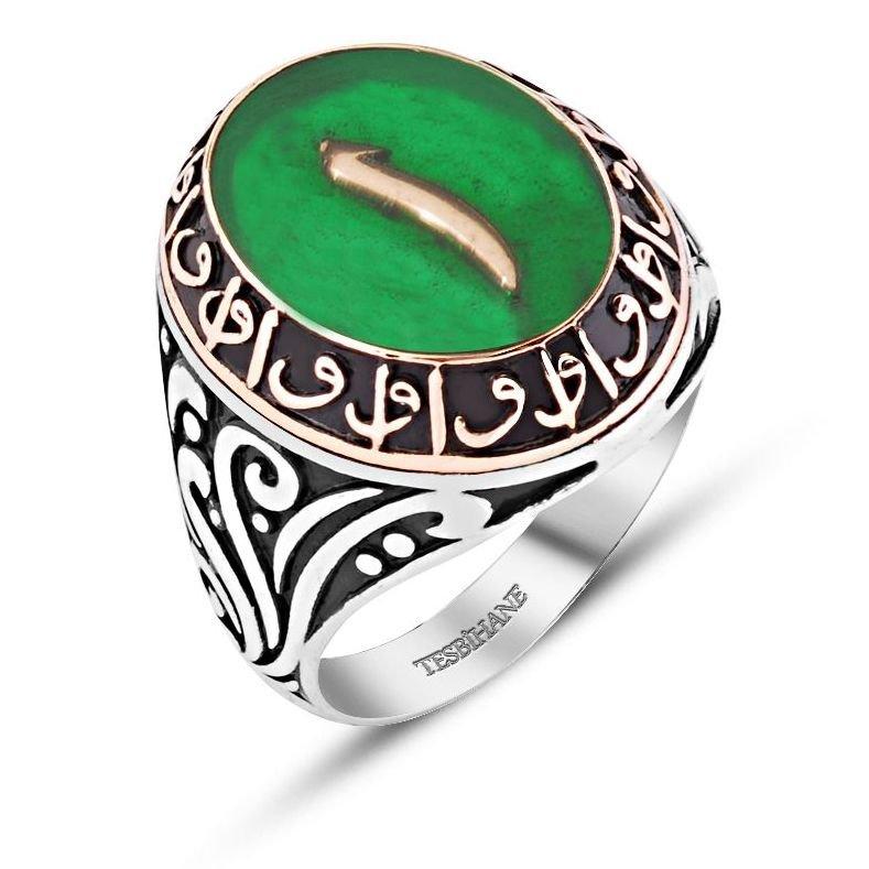 Yeşil Mine Üzerine Elif Harfli 925 Ayar Gümüş Yüzük