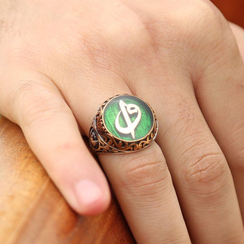 Yeşil Mine Üzerine Elif Vav Harfli 925 Ayar Gümüş Yüzük