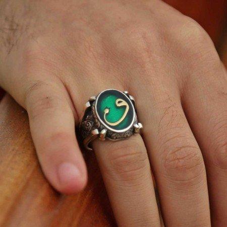 Yeşil Mine Üzerine Vav Harfli 925 Ayar Gümüş Oval Yüzük - Thumbnail