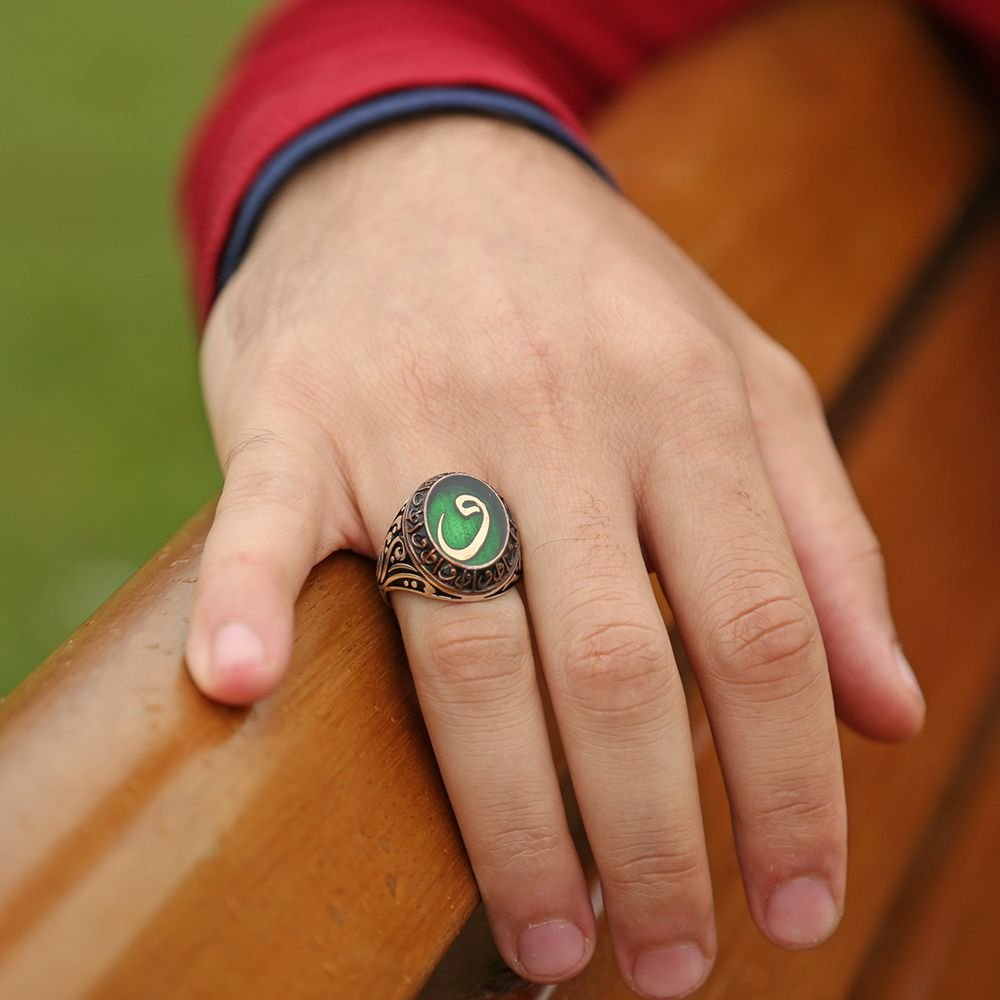 Yeşil Mine Üzerine Vav Harfli 925 Ayar Gümüş Yüzük