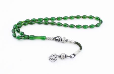 Yeşil Renk Kazaz Püsküllü Sıkma Kehribar Tesbih - Thumbnail