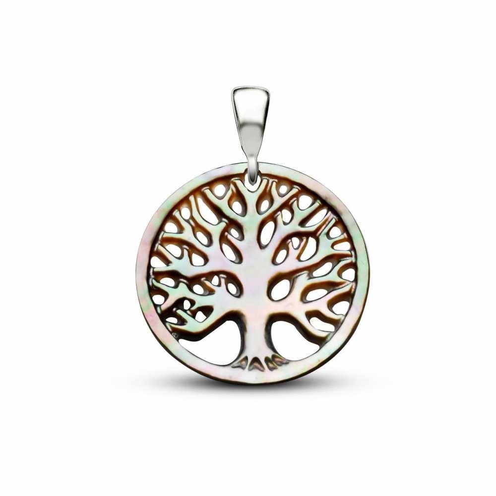 Yeşil Sedef Yapım Hayat Ağacı Kolye (Gümüş Zincirli)