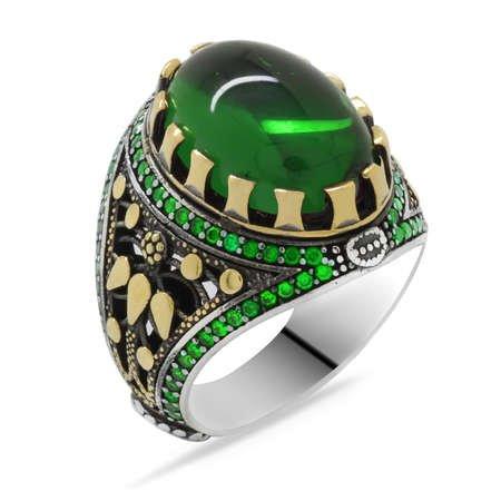 Yeşil Zirkon Taşlı Oval Tasarım 925 Ayar Gümüş Erkek Yüzük - Thumbnail