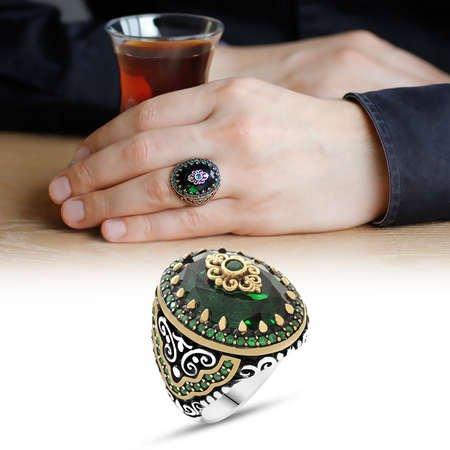 Yeşil Zirkon Taşlı Yoğun Mikro Taş İşlemeli 925 Ayar Gümüş Erkek Yüzük - Thumbnail