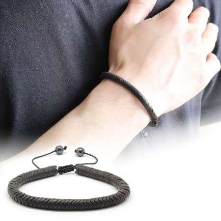 Yılan Tasarım Black Hematit Doğaltaş Bileklik - Thumbnail