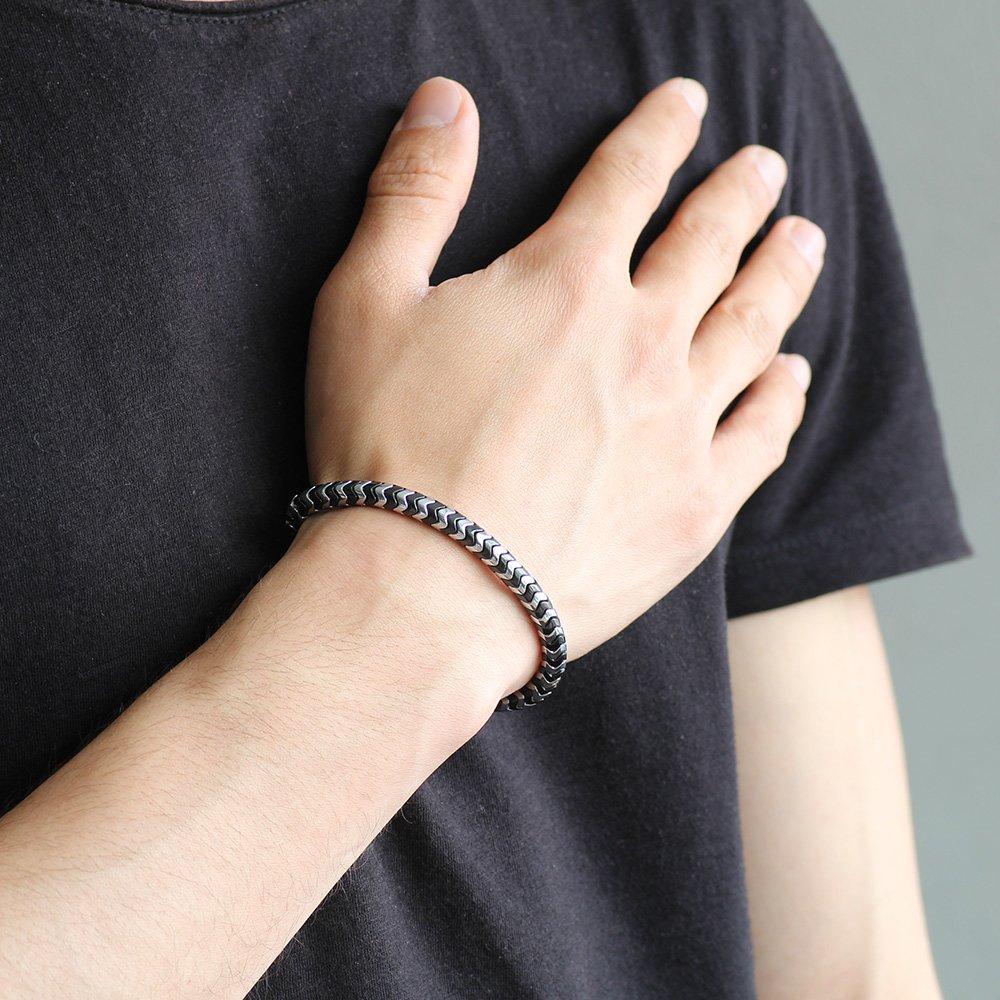 Yılan Tasarım Black-Silver Hematit Doğaltaş Bileklik