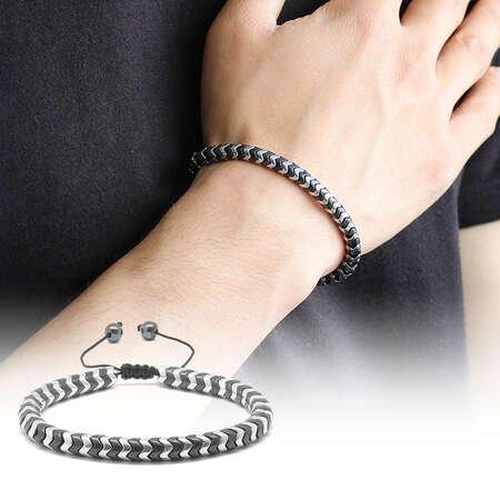 Yılan Tasarım Black-Silver Hematit Doğaltaş Bileklik - Thumbnail