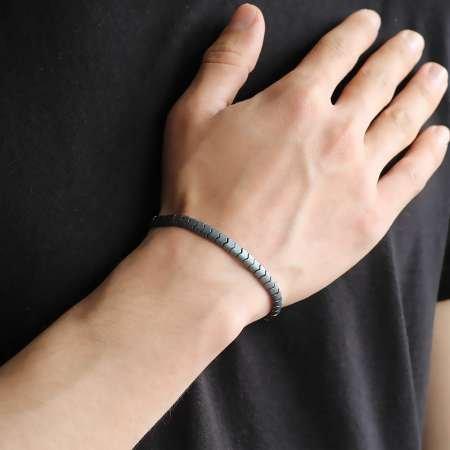Yılan Tasarım Grey Hematit Doğaltaş Bileklik - Thumbnail