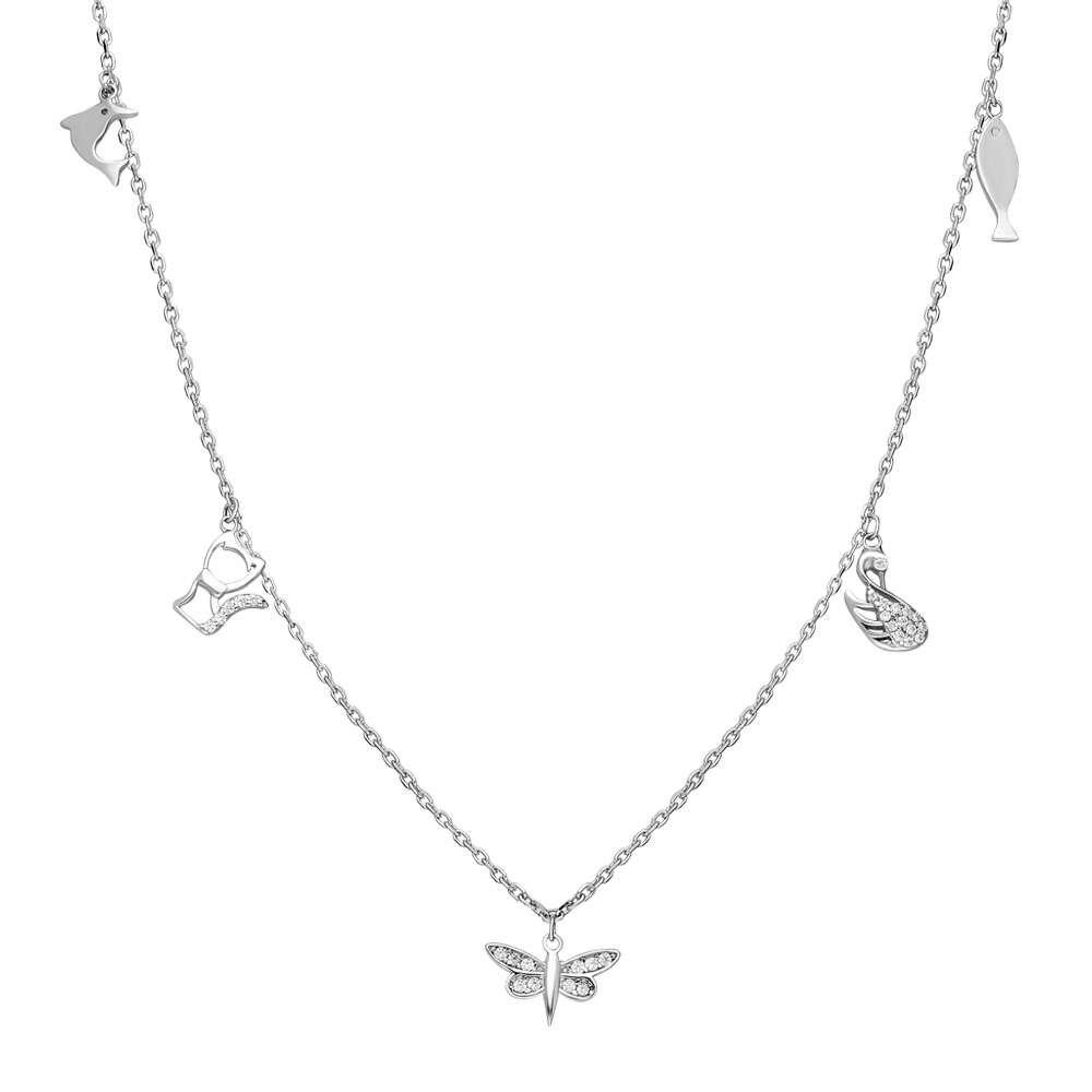 Yusufçuk-Ördek-Kedi-Balık Kombinli 925 Ayar Gümüş Şans Kolyesi