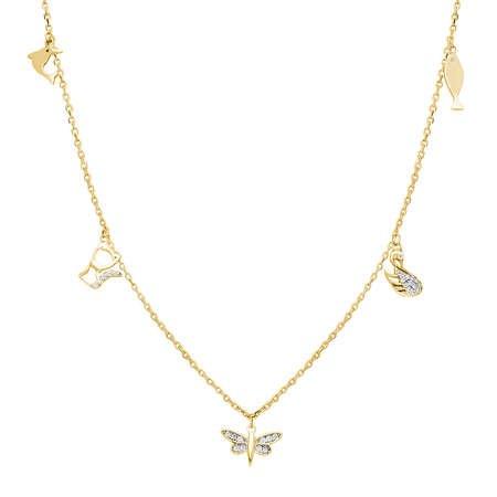 Yusufçuk-Ördek-Kedi-Balık Kombinli Gold Renk 925 Ayar Gümüş Şans Kolyesi - Thumbnail