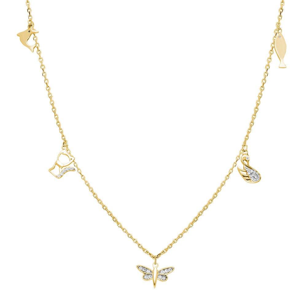 Yusufçuk-Ördek-Kedi-Balık Kombinli Gold Renk 925 Ayar Gümüş Şans Kolyesi