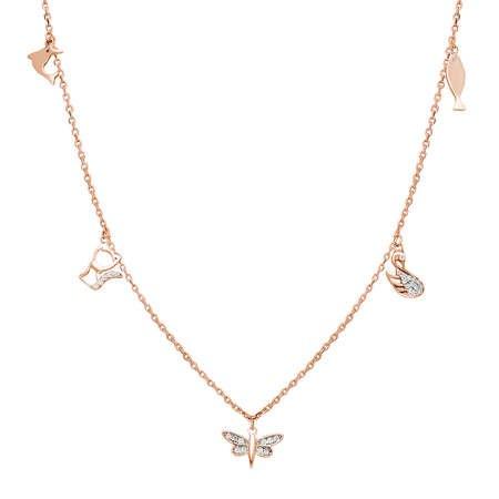 Yusufçuk-Ördek-Kedi-Balık Kombinli Rose Renk 925 Ayar Gümüş Şans Kolyesi - Thumbnail