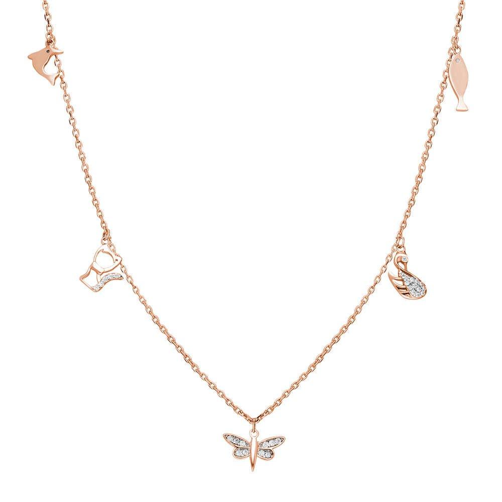 Yusufçuk-Ördek-Kedi-Balık Kombinli Rose Renk 925 Ayar Gümüş Şans Kolyesi