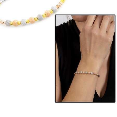 Yuvarlak Tasarım Yarım Tur Üç Renkli 925 Ayar Gümüş Dorika Kadın Bileklik - Thumbnail