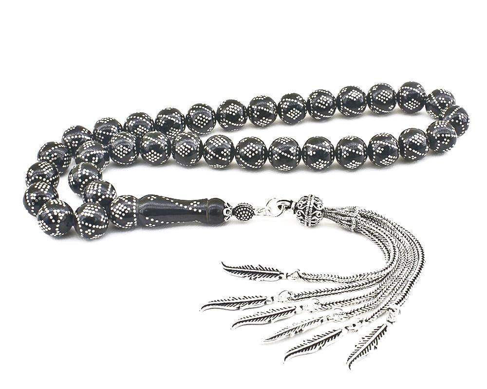 925 Ayar Gümüş Püsküllü Gümüş Yüzlerce İşlemeli Erzurum Oltu Taşı Tesbih