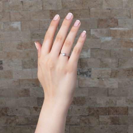 Zarif Tasarım 925 Ayar Gümüş Bayan Tektaş Yüzük - Thumbnail