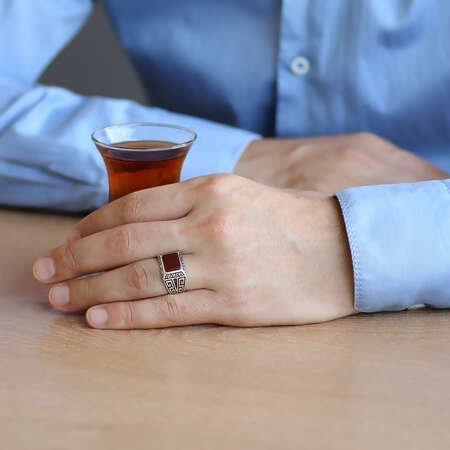 Zarif Tasarım Kırmızı Akik Taşlı 925 Ayar Gümüş Erkek Yüzük - Thumbnail