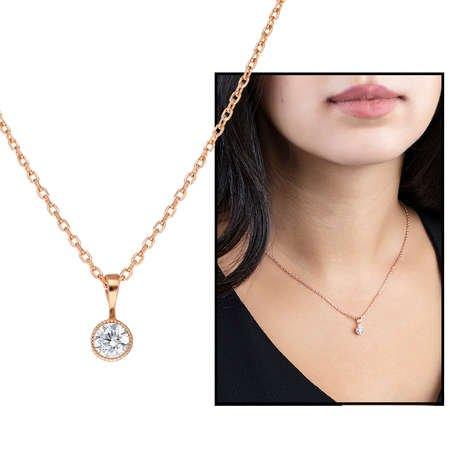 Zarif Tasarım Rose Renk Zirkon Tek Taşlı 925 Ayar Gümüş Bayan Kolye - Thumbnail