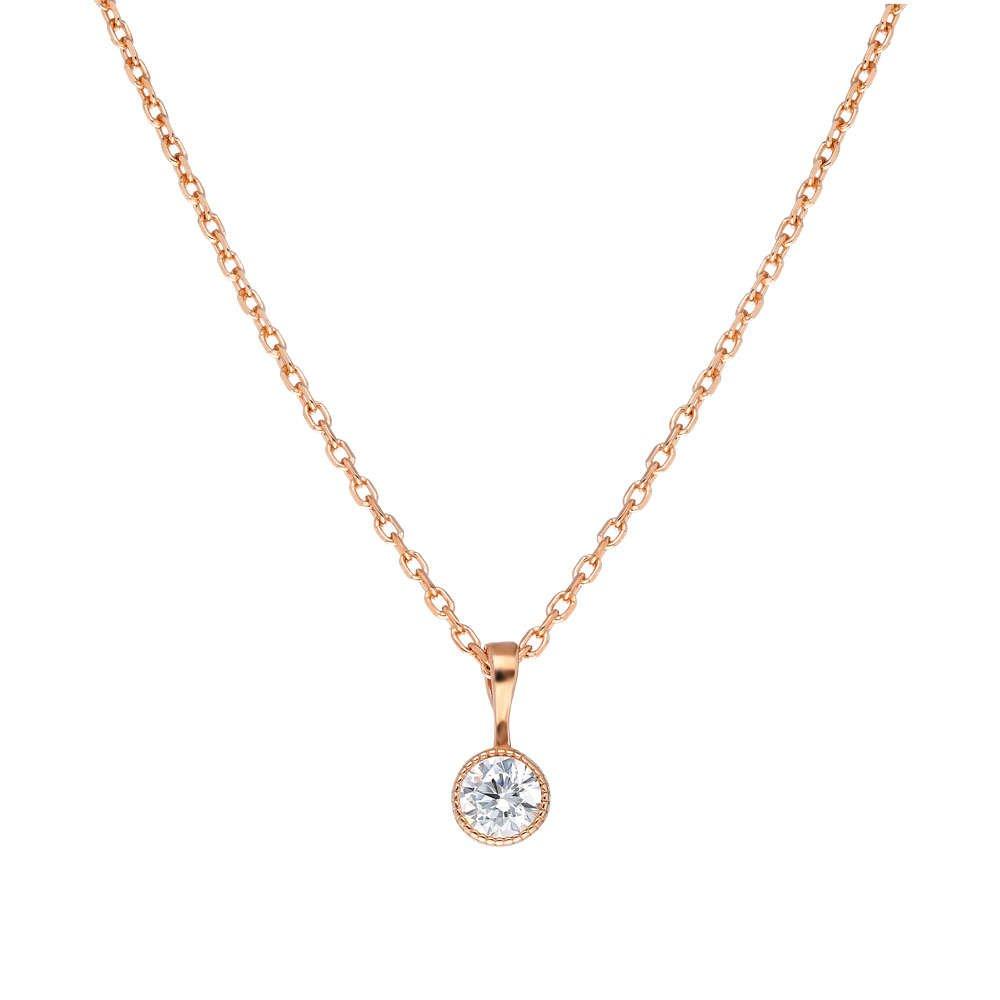 Zarif Tasarım Rose Renk Zirkon Tek Taşlı 925 Ayar Gümüş Bayan Kolye