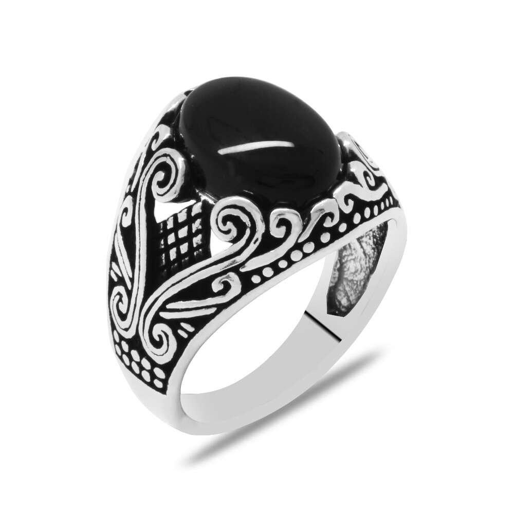 Zarif Tasarım Siyah Oniks Taşlı 925 Ayar Gümüş Erkek Yüzük