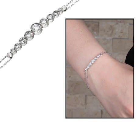 Zarif Tasarım Zirkon Taşlı 925 Ayar Gümüş Bayan Bileklik - Thumbnail