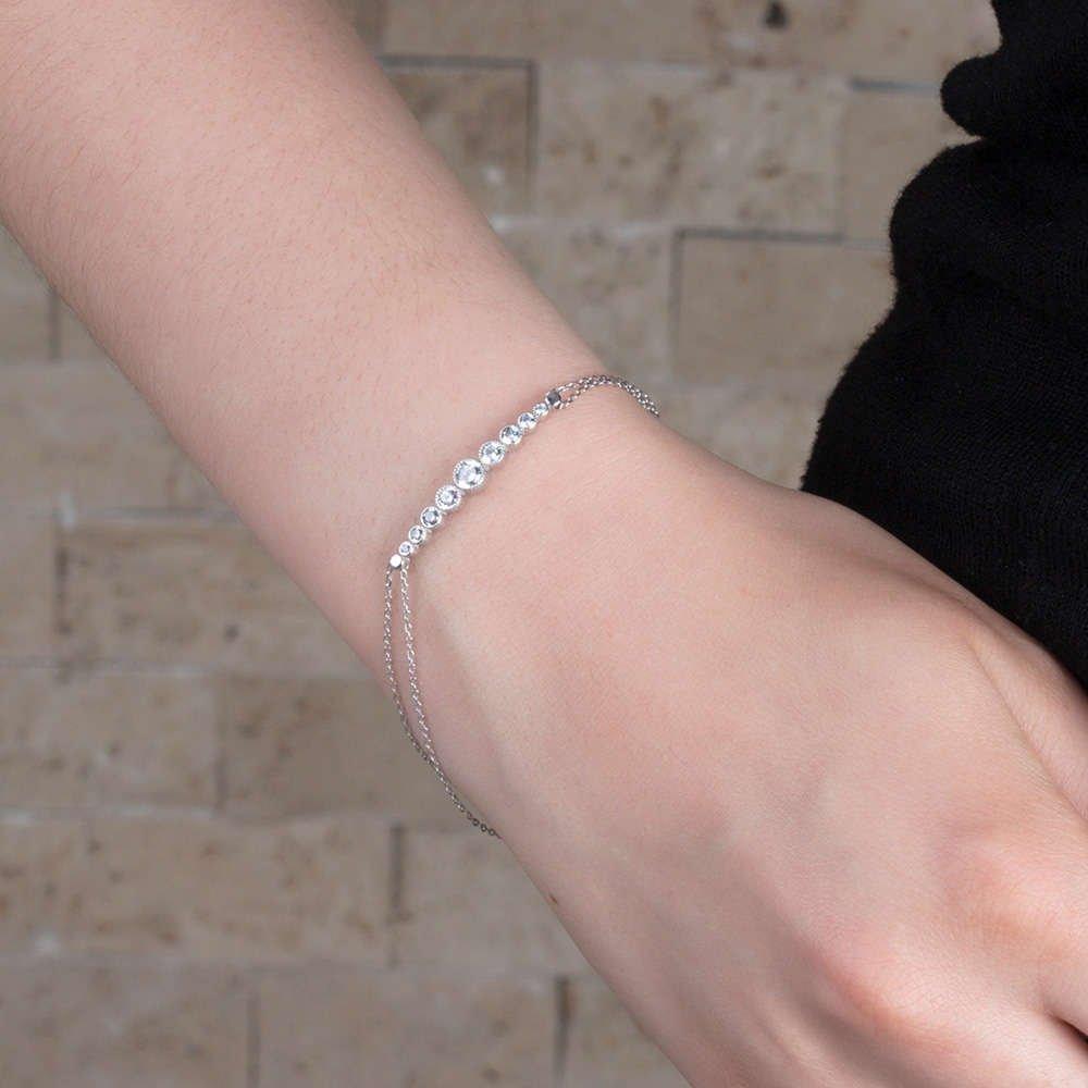 Zarif Tasarım Zirkon Taşlı 925 Ayar Gümüş Bayan Bileklik