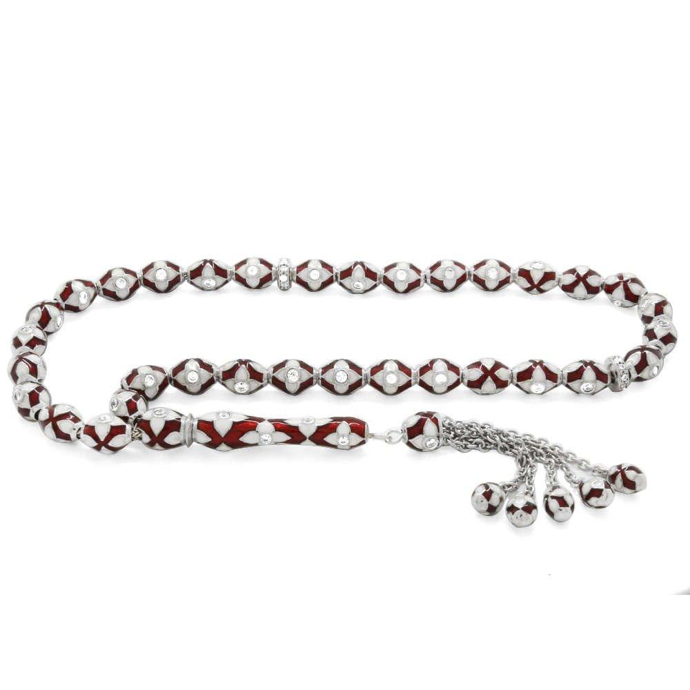 Zarif Tasarım Zirkon Taşlı Kırmızı-Beyaz Mineli Arpa Kesim 925 Ayar Gümüş Tesbih