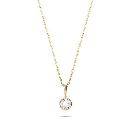Zarif Tasarım Gold Renk Zirkon Tek Taşlı 925 Ayar Gümüş Bayan Kolye - Thumbnail