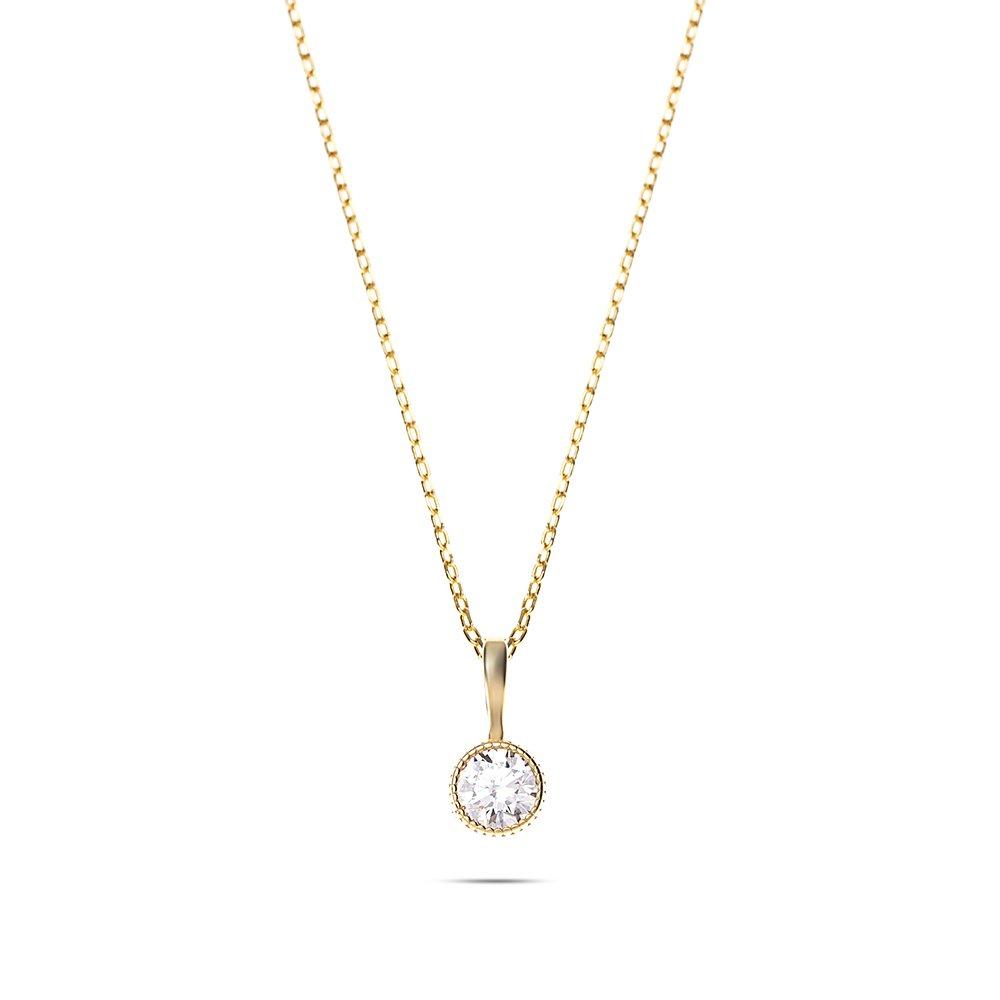 Zarif Tasarım Gold Renk Zirkon Tek Taşlı 925 Ayar Gümüş Bayan Kolye