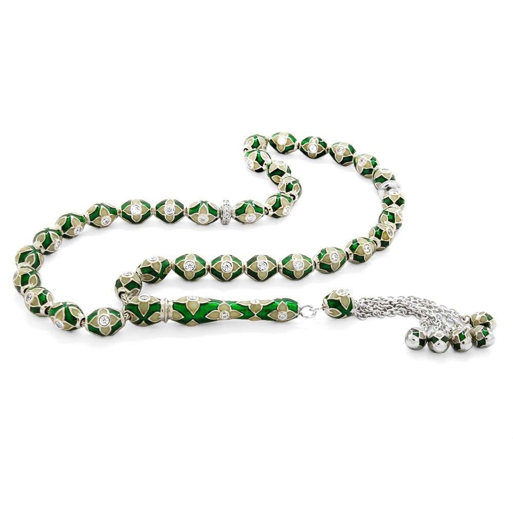 Zarif Tasarım Zirkon Taşlı Yeşil-Beyaz Mineli Arpa Kesim 925 Ayar Gümüş Tesbih