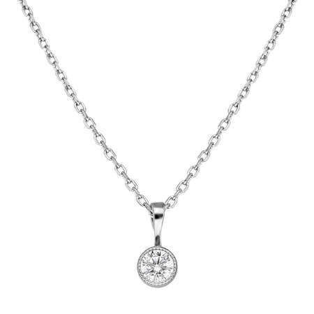 Zarif Tasarım Zirkon Tek Taşlı 925 Ayar Gümüş Bayan Kolye - Thumbnail