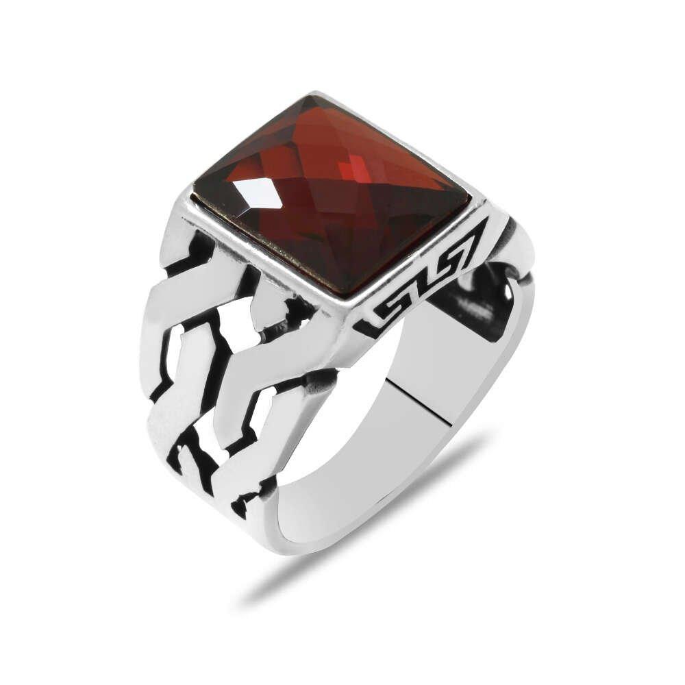 Zincir Tasarım Faset Kırmızı Zirkon Taşlı 925 Ayar Gümüş Erkek Yüzük