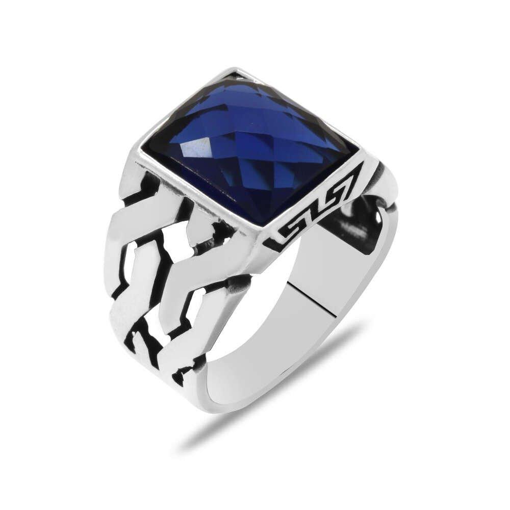 Zincir Tasarım Faset Mavi Zirkon Taşlı 925 Ayar Gümüş Erkek Yüzük
