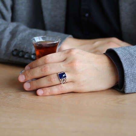 Zincir Tasarım Faset Mavi Zirkon Taşlı 925 Ayar Gümüş Erkek Yüzük - Thumbnail
