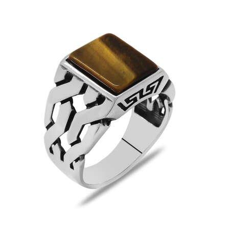 Zincir Tasarım Kaplan Gözü Taşlı 925 Ayar Gümüş Erkek Yüzük - Thumbnail