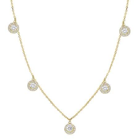 Zirkon 5'li Tektaş Tasarım Gold Renk 925 Ayar Gümüş Şans Kolyesi - Thumbnail