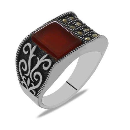 Zirkon Mikro Taş Süslemeli Kırmızı Akik Taşlı 925 Ayar Gümüş Erkek Yüzük - Thumbnail
